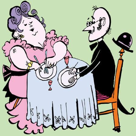couple in restaurant vector illustration Vector