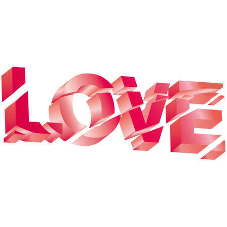 Vector 3d love text on white background. Stock Vector - 6139186