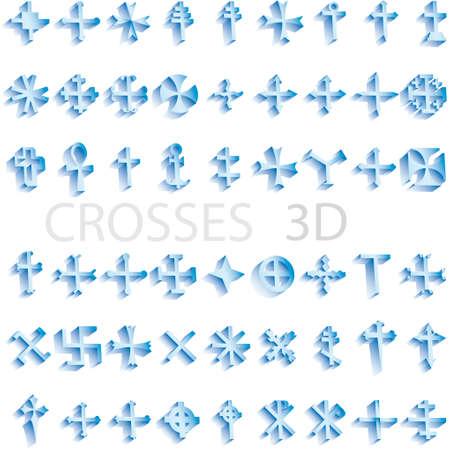 Set of crosses 3d vector illustratoin Vector