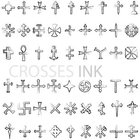 Set of crosses ink vector illustratoin Vector