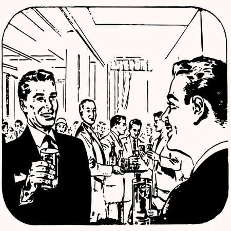 waitresses: Cartoon retro vintage cocktail vector illustration