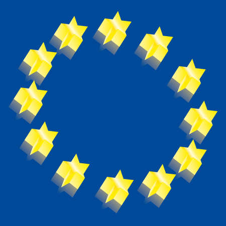 Europe 3D flag map Vector