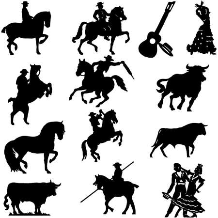 spanish bull: Set of silhouette typical spanish flamenco vector illustration  Bullfighter, bull