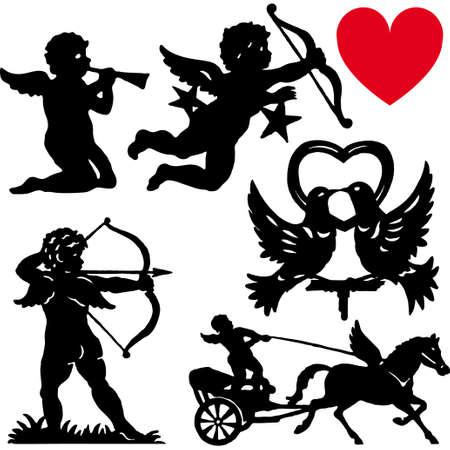 yesteryear: Conjunto de dibujos animados de valentines day de silueta Cupido vector ilustraci�n  Vectores
