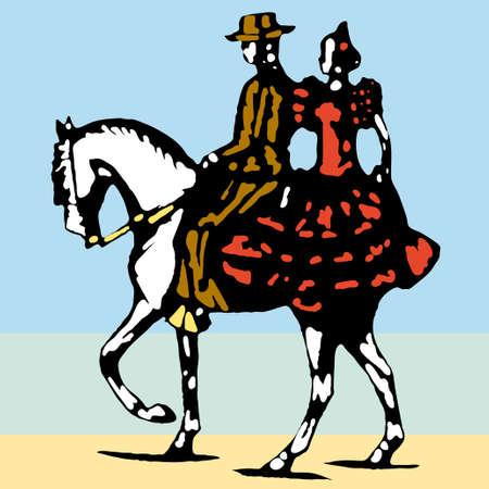 capote: typical spanish flamenco vector illustration
