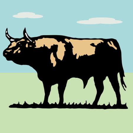 Bullfighter, bull, typical spanish vector illustration Stock Vector - 6236211