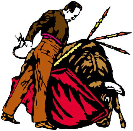 Bullfighter, bull, typical spanish vector illustration Illustration