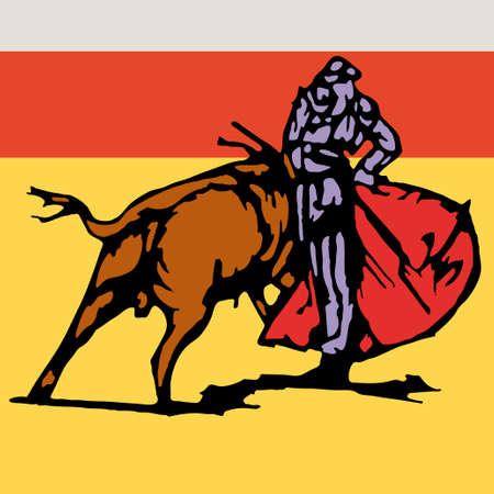Bullfighter, bull, typical spanish vector illustration Stock Vector - 6236212