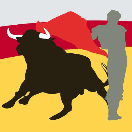Bullfighter, bull, typical spanish vector illustration Stock Vector - 6236216