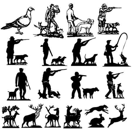hunting collection silhouettes  Vector
