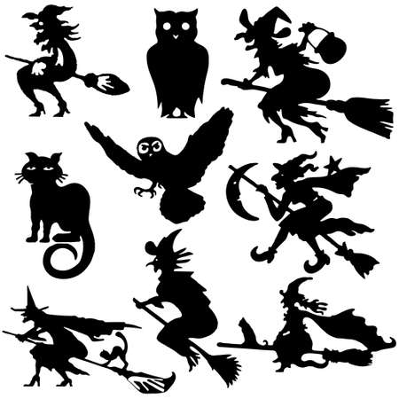 warlock: Silhouettes of witch flying on broom  illustration cartoon