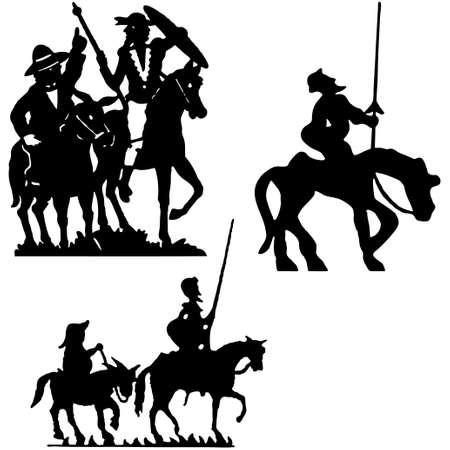 don quijote: Siluetas de Don Quijote. Don Quijote. Vectores