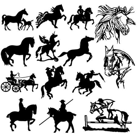 equestrian sport: Horse Silhouettes. Easy Change Colors... (Check out my portfolio for other silhouettes)