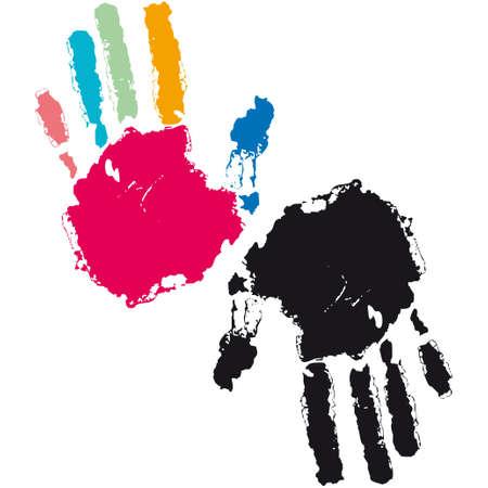 finger prints: Patr�n transparente, imprime de manos, ilustraci�n vectorial
