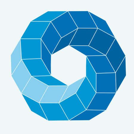tetraedro: Formato 3d astratto illustrazione vettoriale op arte