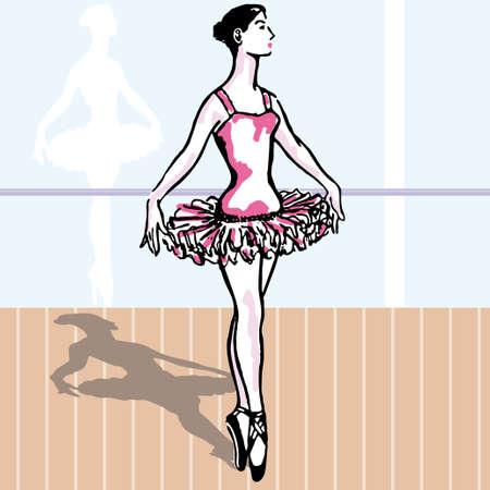 Ballet. young woman dancing classic vector illustration Vector