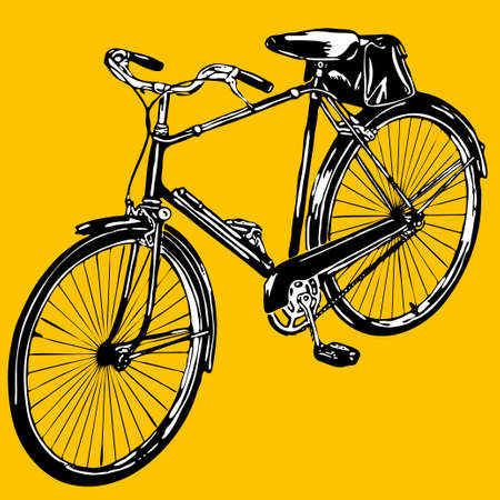 silhouettes  old classic bike Illustration Vector  Vector