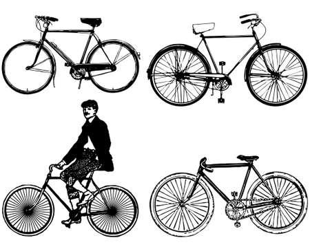vélo de silhouettes classique ancienne Illustration vectorielle