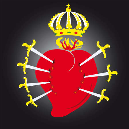 sacred heart: Vector illustration of the sacred heart of Virgin Mary