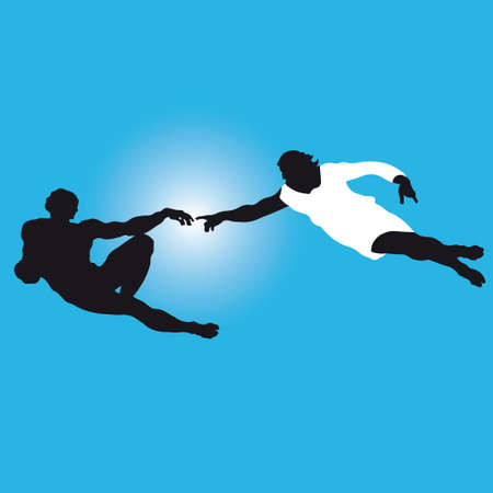 michelangelo: Silhouettes illustration of the famous fragment of Sistine Chapel fresco by Michelangelo. Vector.