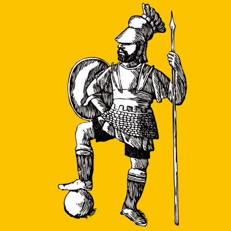 troyan: soldier silhouettes and arms. Vector illustration