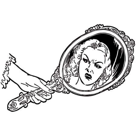 looking in mirror: Girl looking in the mirror vector illustration Illustration