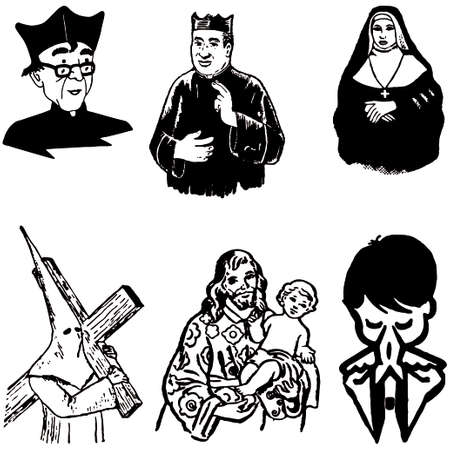 christian young: cartoon vector illustration of catholic christian silhouettes
