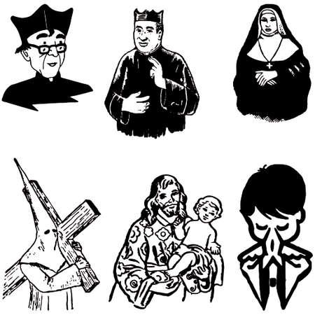 messiah: fumetto illustrazione vettoriale di sagome cristiane cattoliche  Vettoriali