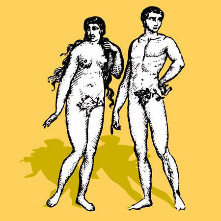 Adam et Eva cartoon vecteur illustration retro Dieu création