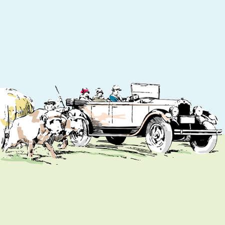 illustrazione vettoriale di vecchio timer auto