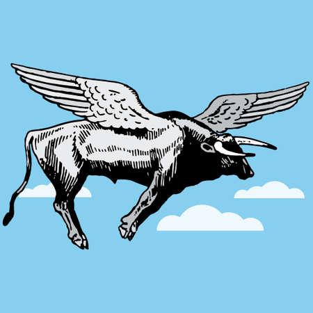 calas blancas: Toro con alas volando ilustración de dibujos animados de vector  Vectores