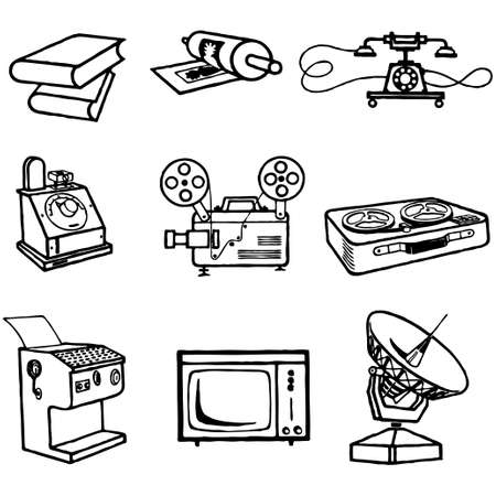 set of cartoon vector illustration transmission