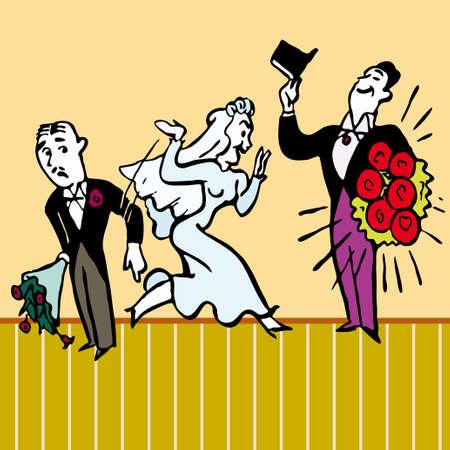 Design broken heart syndrome wedding vector illustration cartoon Illustration