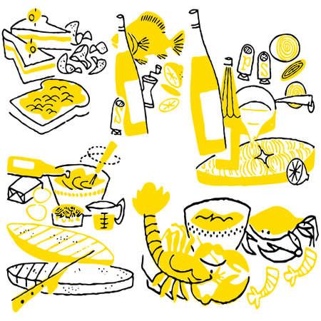 Hand drawn cooking doodles. Vector illustration cartoon. Vector