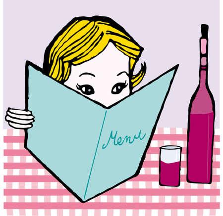 girl with menu card vector illustration cartoon retro Vector