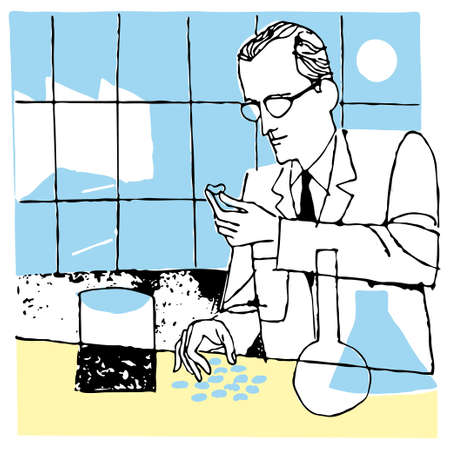 veneno frasco: Hombre cient�fico en caricatura de ilustraci�n vectorial de laboratorio