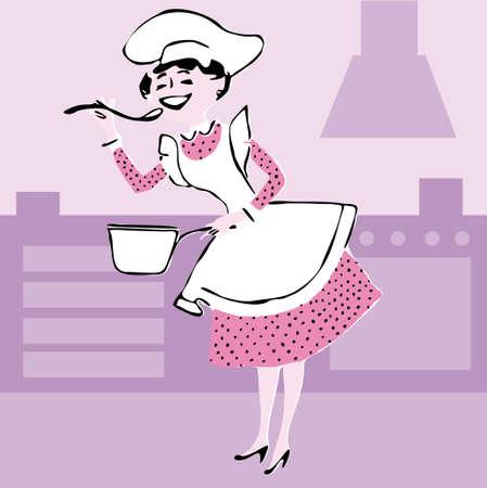 armarios: Una ilustraci�n de una mujer cocina cocci�n. Caricatura de vector.