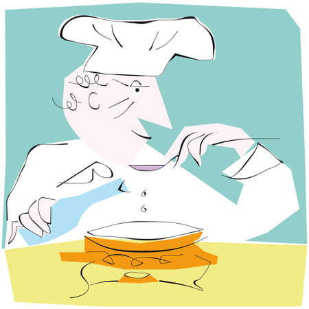 An illustration of a man cookingbaking.  cartoon.  Vector