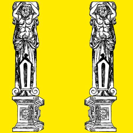 friso: Columna fant�stico hombre ornamentar ilustraci�n arte cl�sico romano Grecia  Vectores