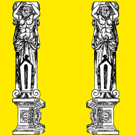 ancient roman: Man fantastic column ornament  illustration art classic roman greece Illustration