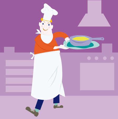 An illustration of a man cooking/baking. Vector cartoon.  Stock Vector - 6408637