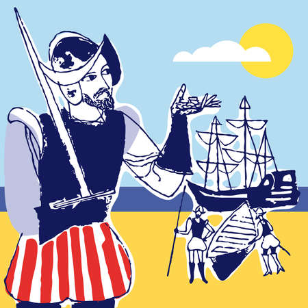 cristobal colon: Discovery america Spanish soldier, 1492, vector illustration Illustration