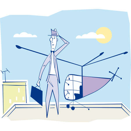 Businessman arriving at a working meeting by helicopter. illustration. Vector