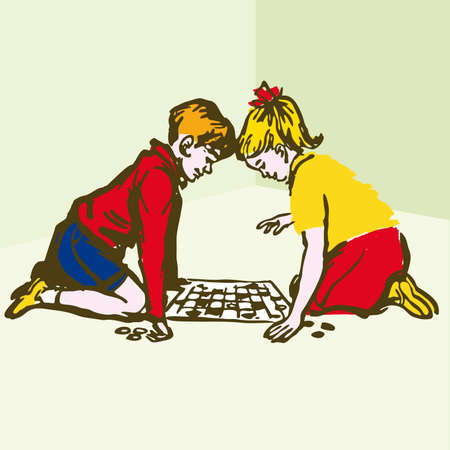 cartoon board: Children playing Board Games - illustration cartoon