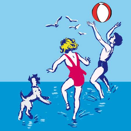 beach game: Boy and girl on the beach cartoon illustration Illustration