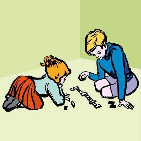 Children playing Board Games - illustration cartoon