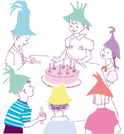 Happy Birthday celebration illustration cartoon with kids children Stock Vector - 6444876