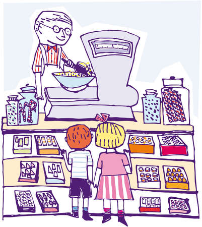 Children kids shopping. Play time. illustration cartoon Vector
