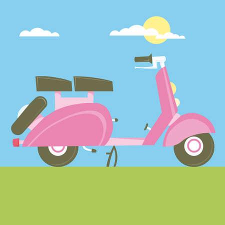 yesteryear: Motocicleta de dibujos animados de ilustraci�n de Sweet Scooter