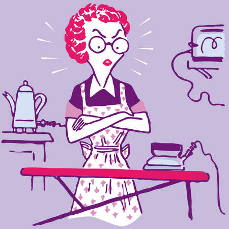 carpet clean: Domestic work house home Woman Housewife illustration cartoon